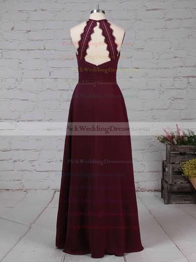 Chiffon Scoop Neck Floor-length A-line Ruffles Bridesmaid Dresses #PWD01013474