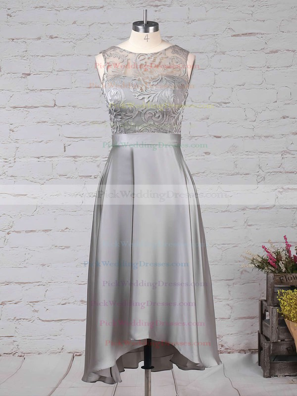 Lace Satin Chiffon Scoop Neck Asymmetrical A-line Sashes / Ribbons Bridesmaid Dresses #PWD01013476