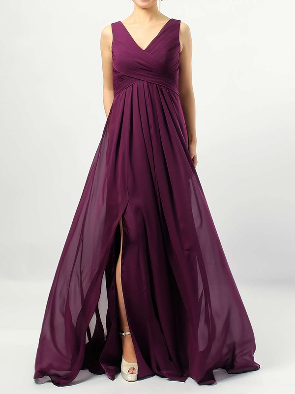 Chiffon V-neck Floor-length Empire Ruffles Bridesmaid Dresses #PWD01013477