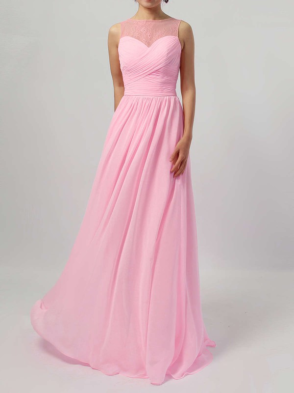 Lace Chiffon Scoop Neck Floor-length A-line Ruffles Bridesmaid Dresses #PWD01013478