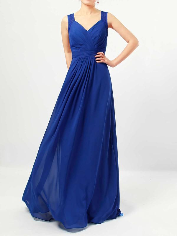 Chiffon V-neck Floor-length A-line Lace Bridesmaid Dresses #PWD01013483