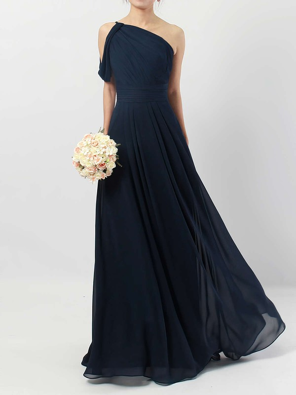 Chiffon One Shoulder Floor-length A-line Ruffles Bridesmaid Dresses #PWD01013484