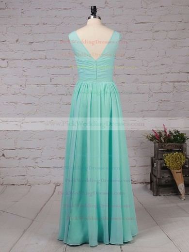 Chiffon Scoop Neck Floor-length A-line Ruffles Bridesmaid Dresses #PWD01013486
