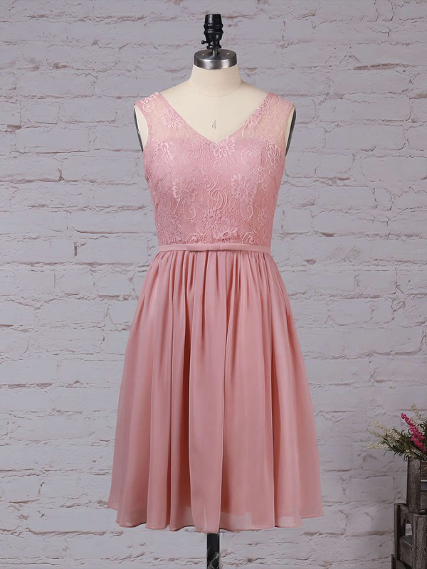 Lace Chiffon V-neck Knee-length A-line Sashes / Ribbons Bridesmaid Dresses #PWD01013497