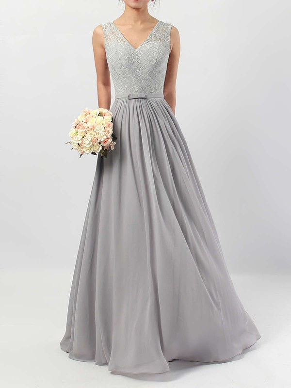 Lace Chiffon V-neck Floor-length A-line Sashes / Ribbons Bridesmaid Dresses #PWD01013498