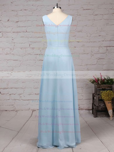 Chiffon V-neck Floor-length A-line Ruffles Bridesmaid Dresses #PWD01013499