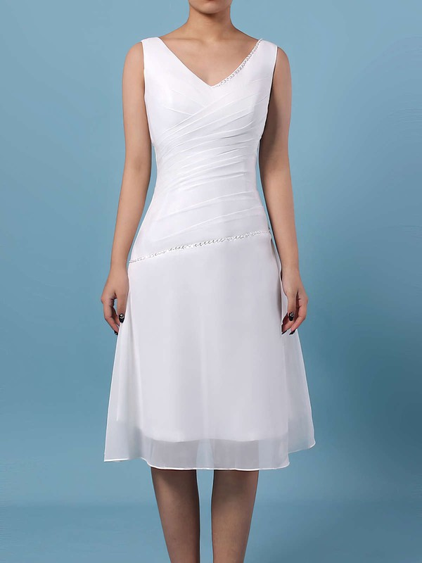 Chiffon V-neck Knee-length A-line Ruffles Bridesmaid Dresses #PWD01013500