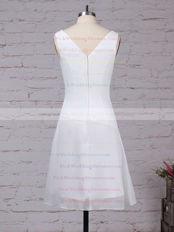 Chiffon V-neck Knee-length A-line Ruffles Bridesmaid Dresses #PWD01013500