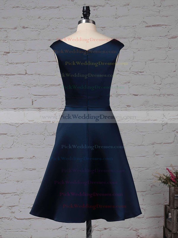 Satin Chiffon Scoop Neck Knee-length A-line Cascading Ruffles Bridesmaid Dresses #PWD01013504