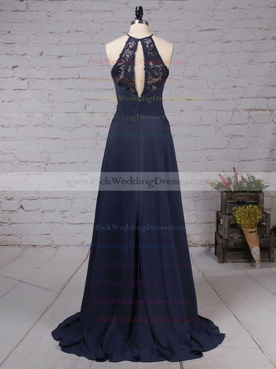 Lace Chiffon Scoop Neck Sweep Train A-line Bow Bridesmaid Dresses #PWD01013505