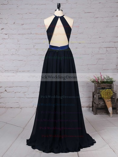 Chiffon Scoop Neck Floor-length A-line Sashes / Ribbons Bridesmaid Dresses #PWD01013506