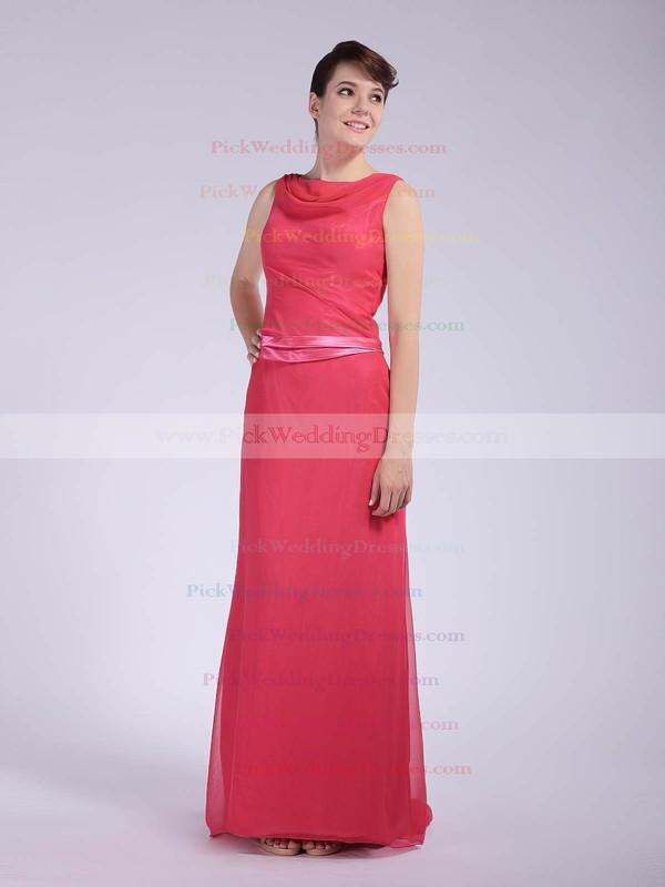 Sheath/Column Floor-length Chiffon Sashes/Ribbons Cowl Bridesmaid Dresses #PWD01012044