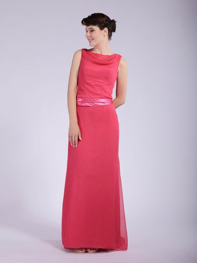 Sheath/Column Floor-length Chiffon Sashes/Ribbons Cowl Bridesmaid Dresses #PWD01012044
