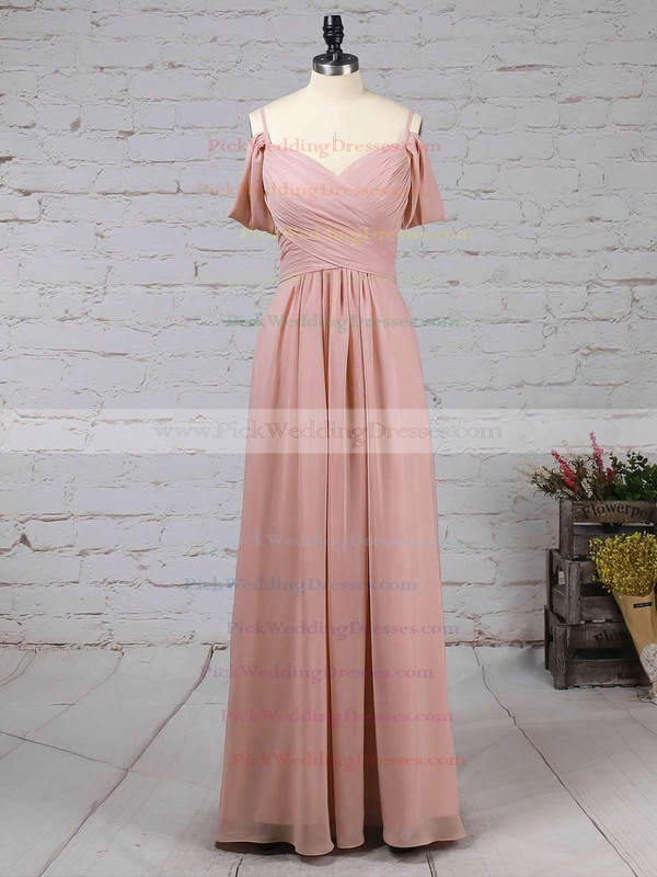Chiffon V-neck Floor-length Empire Ruffles Bridesmaid Dresses #PWD01013507