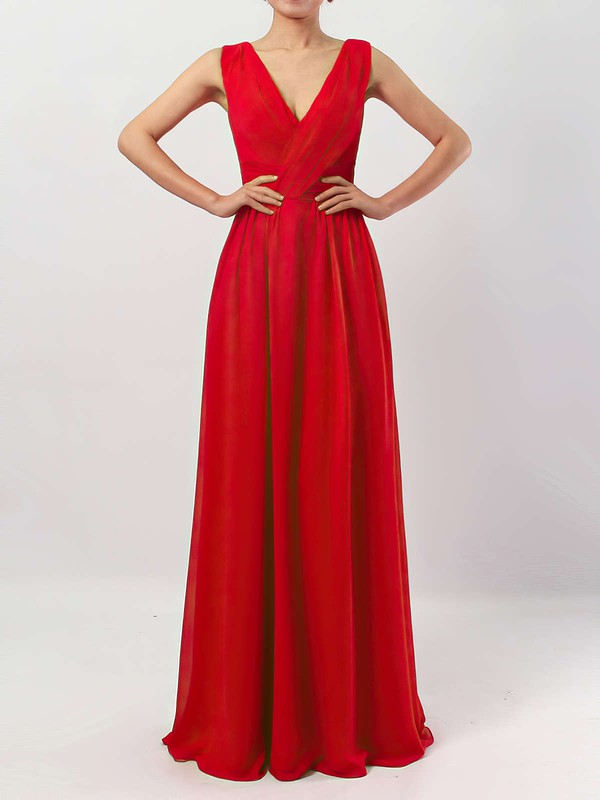 Chiffon V-neck Floor-length A-line Ruffles Bridesmaid Dresses #PWD01013511