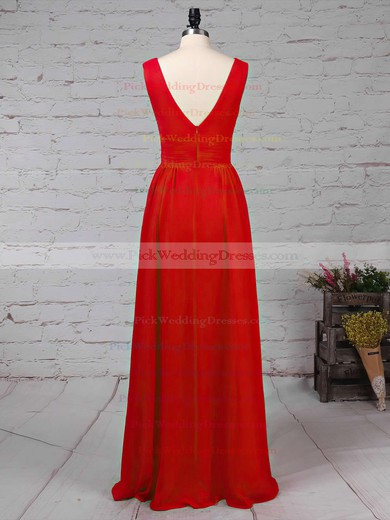 Chiffon V-neck Floor-length A-line Ruffles Bridesmaid Dresses #PWD01013511