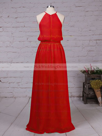 Chiffon Scoop Neck Floor-length A-line Sashes / Ribbons Bridesmaid Dresses #PWD01013512