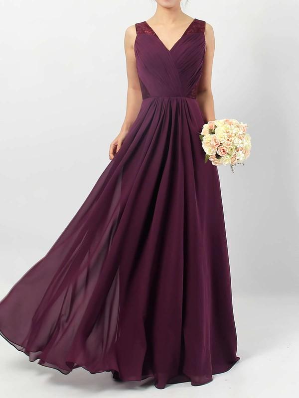 Lace Chiffon V-neck Floor-length A-line Ruffles Bridesmaid Dresses #PWD01013513