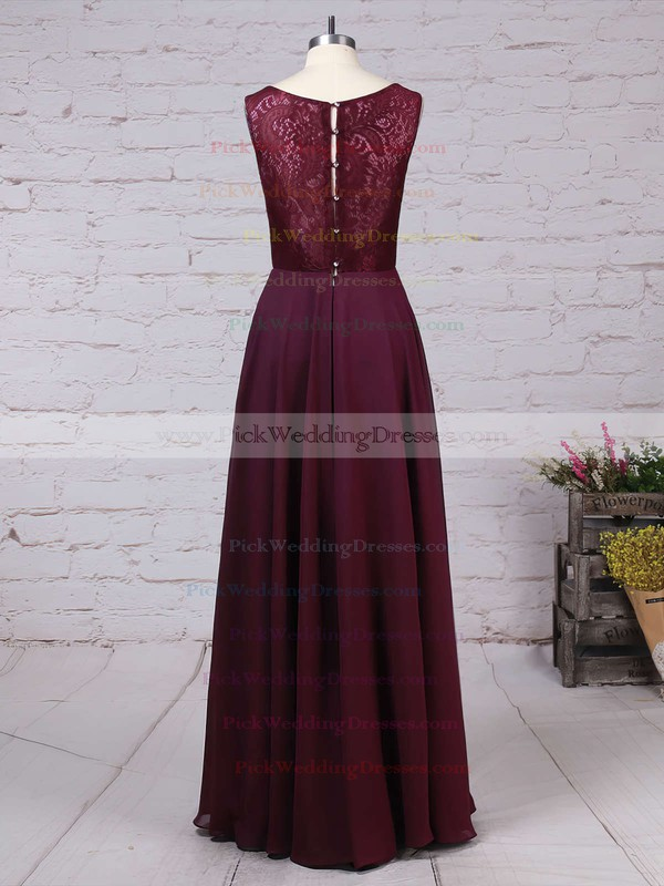 Lace Chiffon V-neck Floor-length A-line Ruffles Bridesmaid Dresses #PWD01013513