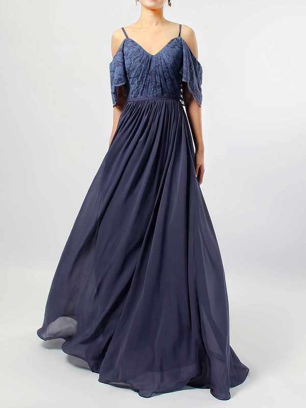 Lace Chiffon V-neck Floor-length A-line Ruffles Bridesmaid Dresses #PWD01013514
