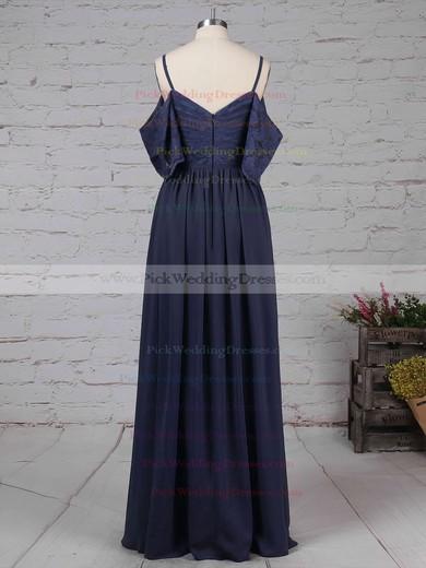 Lace Chiffon V-neck Floor-length A-line Ruffles Bridesmaid Dresses #PWD01013514
