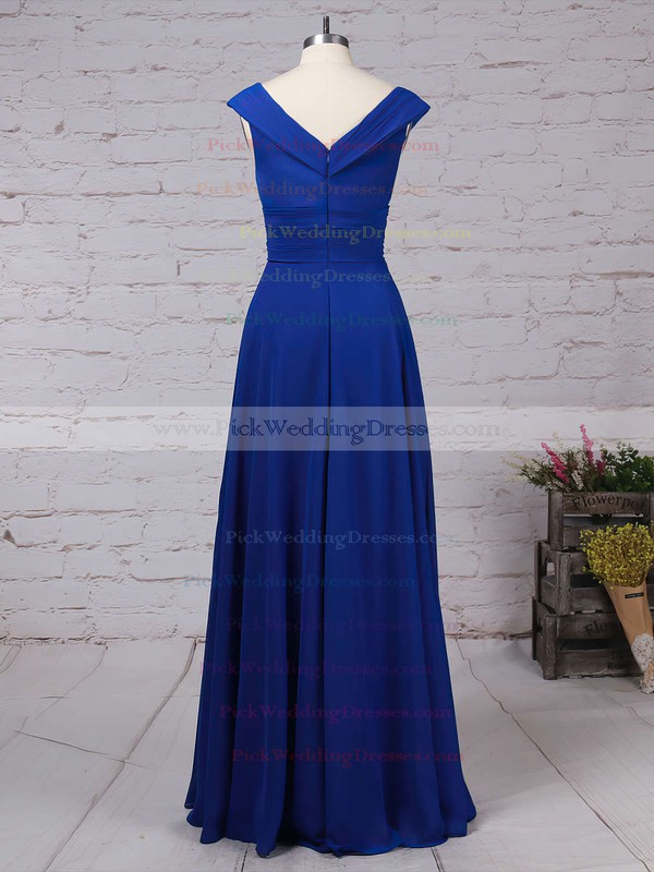 Chiffon V-neck Floor-length A-line Ruffles Bridesmaid Dresses #PWD01013522
