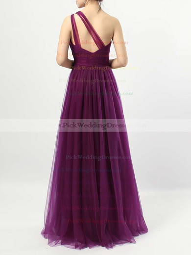 Tulle One Shoulder Floor-length A-line Ruffles Bridesmaid Dresses #PWD01013523