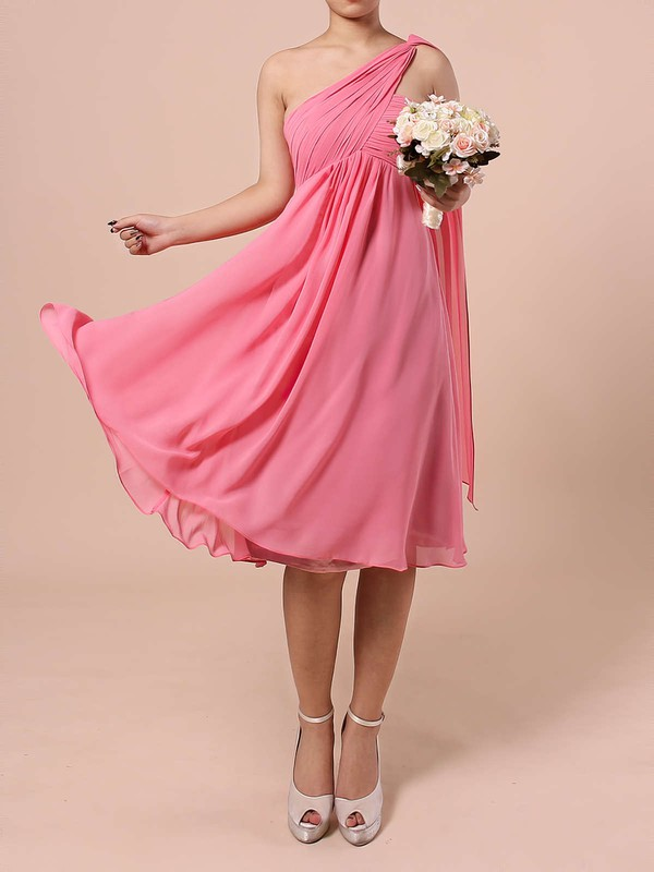 Chiffon One Shoulder Knee-length Empire Ruffles Bridesmaid Dresses #PWD01013527