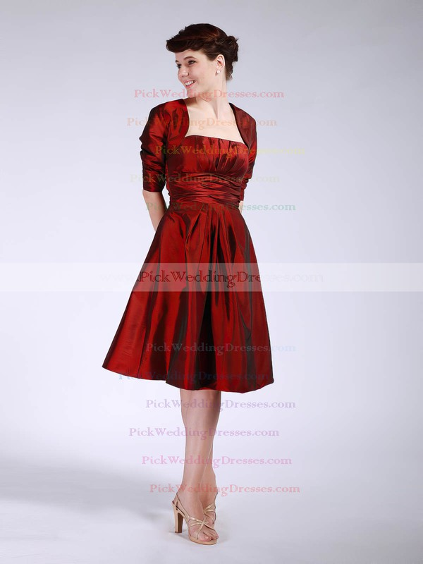 A-line Knee-length Taffeta Pleats Strapless Bridesmaid Dresses #PWD01012045