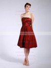 A-line Knee-length Taffeta Pleats Strapless Bridesmaid Dresses #PWD01012045