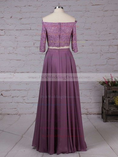 Lace Chiffon Off-the-shoulder Floor-length A-line Bridesmaid Dresses #PWD01013529