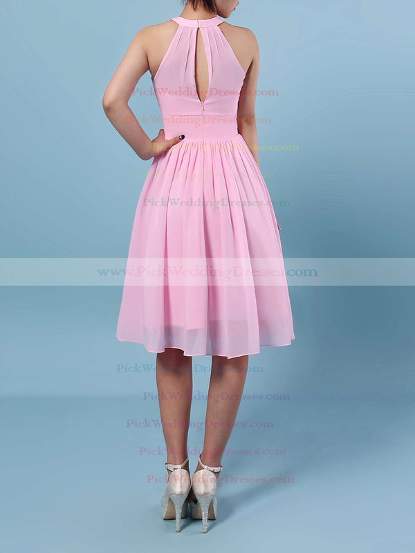 Chiffon Scoop Neck Knee-length A-line Ruffles Bridesmaid Dresses #PWD01013530