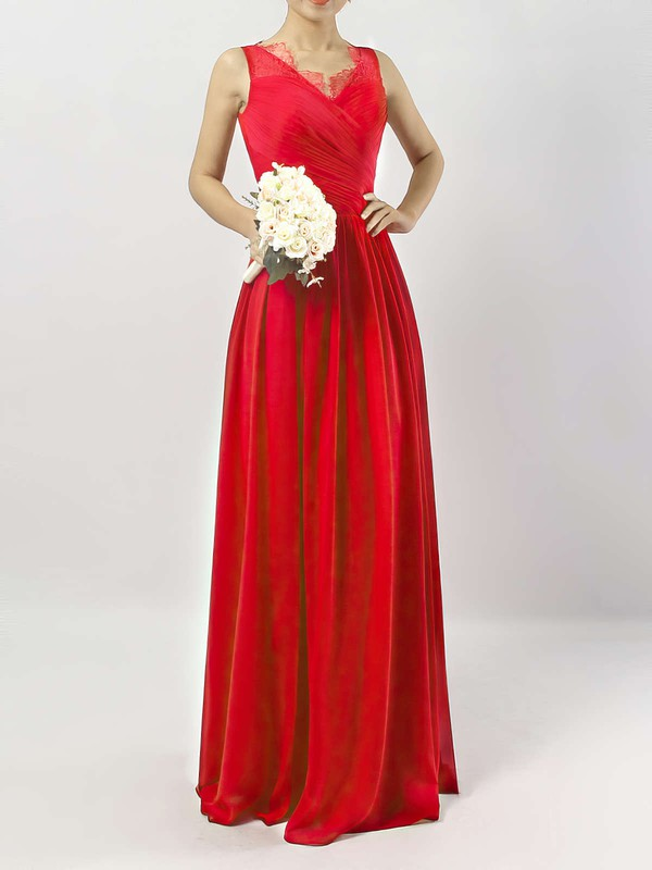 Chiffon V-neck Ankle-length A-line Lace Bridesmaid Dresses #PWD01013532
