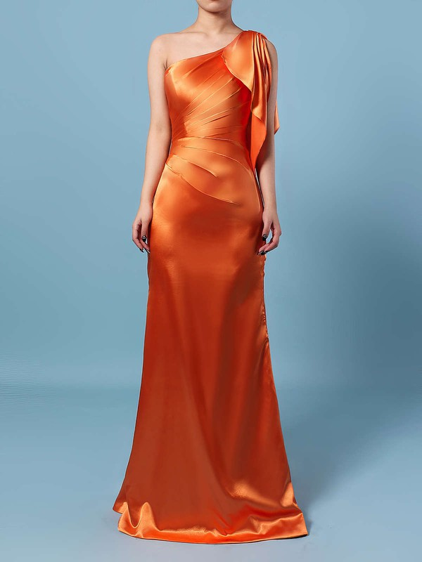 Silk-like Satin One Shoulder Floor-length Sheath/Column Ruffles Bridesmaid Dresses #PWD01013534