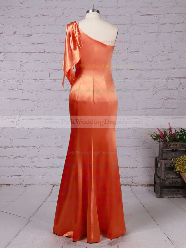 Silk-like Satin One Shoulder Floor-length Sheath/Column Ruffles Bridesmaid Dresses #PWD01013534