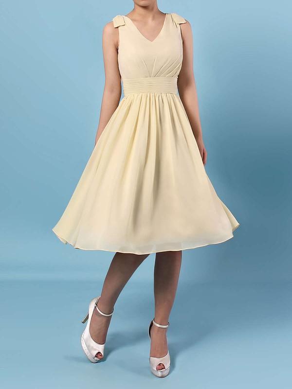 Chiffon V-neck Knee-length A-line Sashes / Ribbons Bridesmaid Dresses #PWD01013536