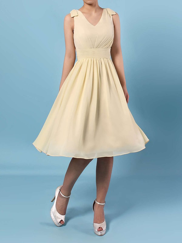 Chiffon V-neck Knee-length A-line Sashes / Ribbons Bridesmaid Dresses #PWD01013536