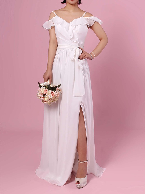 Chiffon V-neck Floor-length A-line Sashes / Ribbons Bridesmaid Dresses #PWD01013537