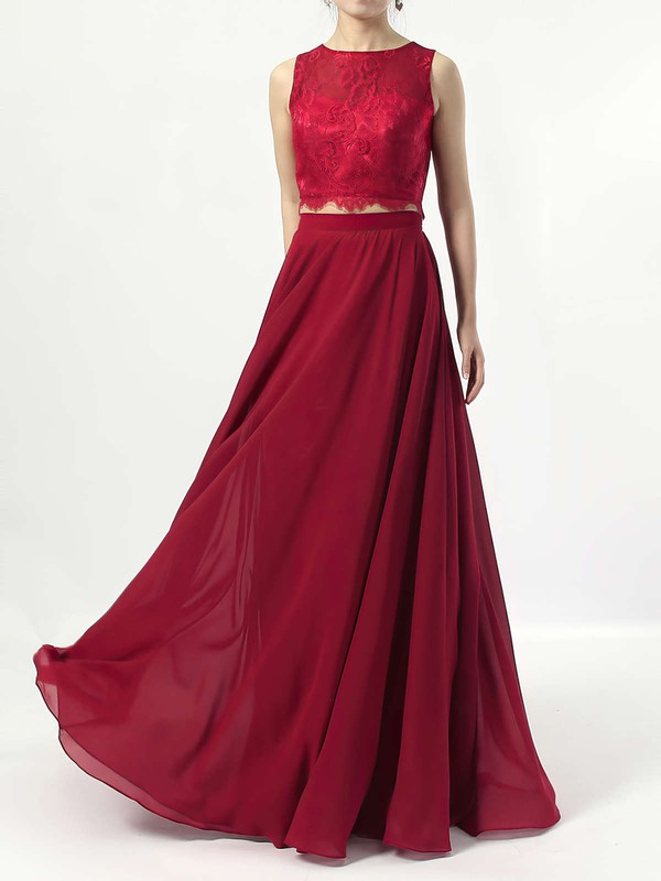 A-line Scoop Neck Lace Chiffon Floor-length Bridesmaid Dresses #PWD01013541