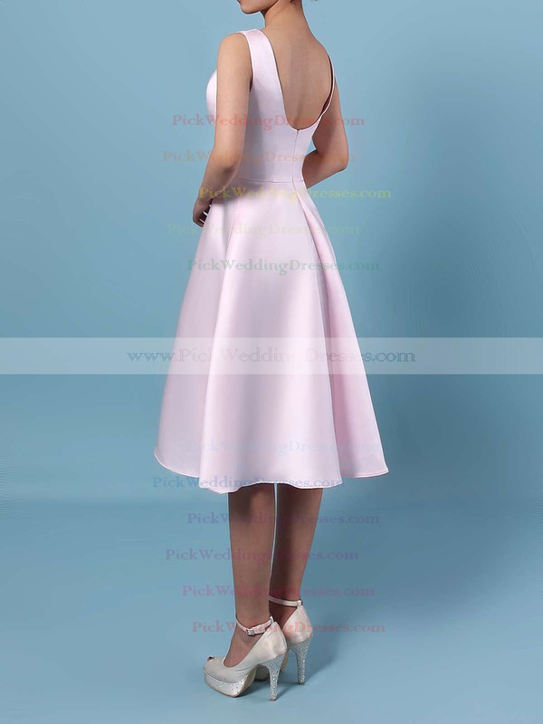 Satin Chiffon Scoop Neck Asymmetrical A-line Bridesmaid Dresses #PWD01013542