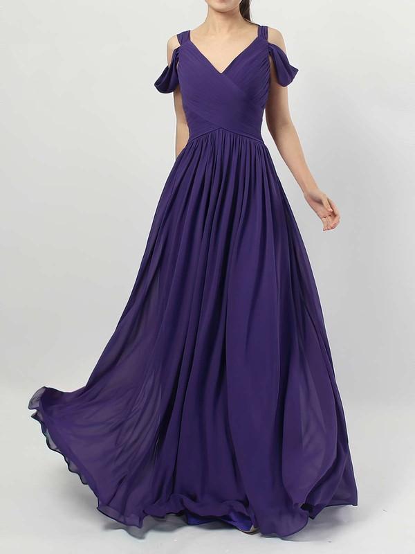 Chiffon V-neck Floor-length Empire Ruffles Bridesmaid Dresses #PWD01013547