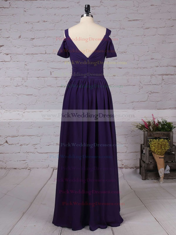 Chiffon V-neck Floor-length Empire Ruffles Bridesmaid Dresses #PWD01013547