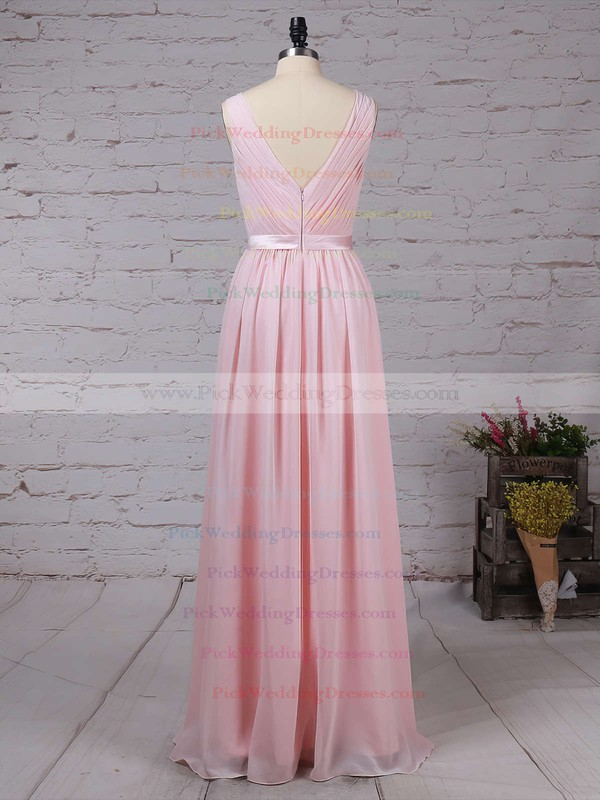 Chiffon Scoop Neck Floor-length A-line Sashes / Ribbons Bridesmaid Dresses #PWD01013550