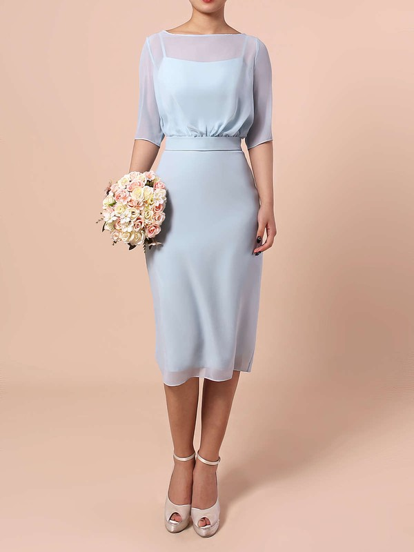 Chiffon Scoop Neck Knee-length Sheath/Column Sashes / Ribbons Bridesmaid Dresses #PWD01013551