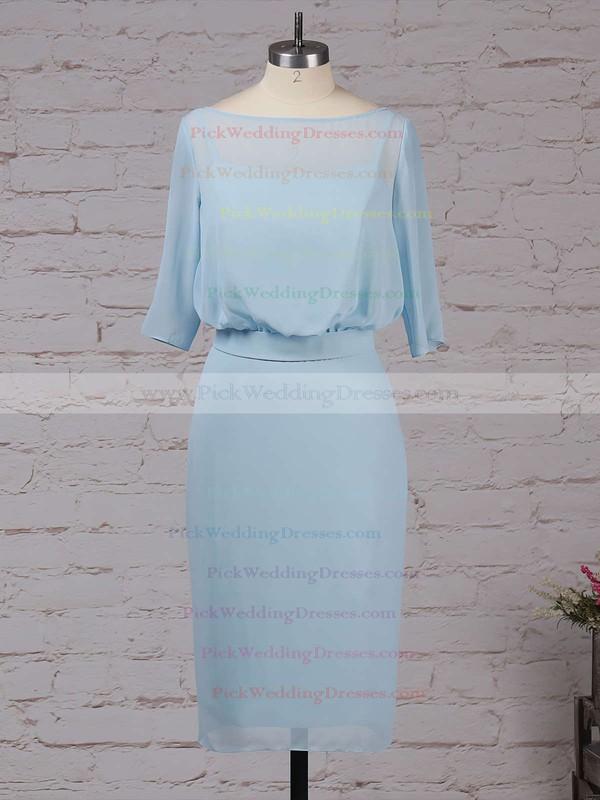 Chiffon Scoop Neck Knee-length Sheath/Column Sashes / Ribbons Bridesmaid Dresses #PWD01013551