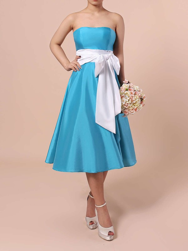 Satin Strapless Knee-length A-line Sashes / Ribbons Bridesmaid Dresses #PWD01013553