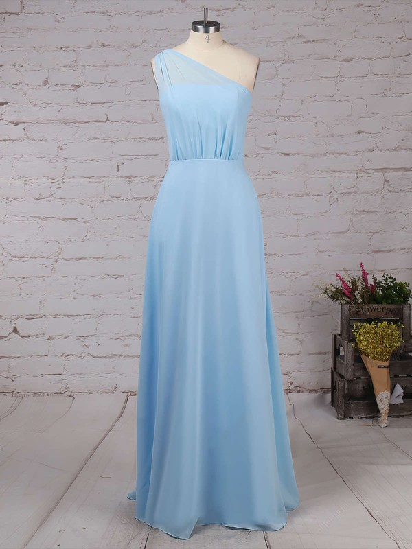 Chiffon One Shoulder Floor-length A-line Ruffles Bridesmaid Dresses #PWD01013561