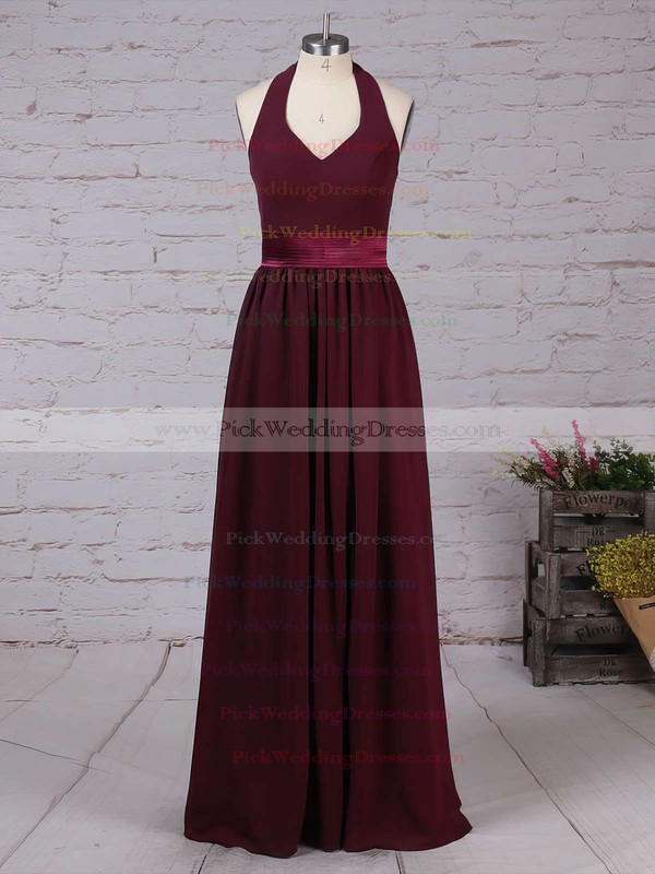 Chiffon Halter Floor-length A-line Sashes / Ribbons Bridesmaid Dresses #PWD01013563