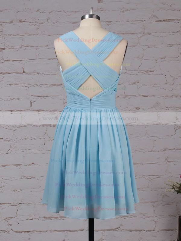 Chiffon V-neck Knee-length A-line Ruffles Bridesmaid Dresses #PWD01013564