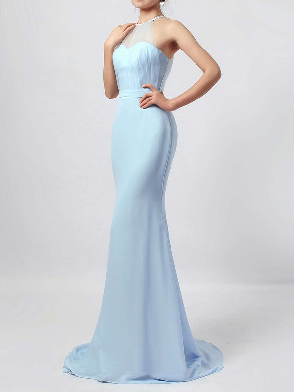 Chiffon Tulle Scoop Neck Sweep Train Trumpet/Mermaid Sashes / Ribbons Bridesmaid Dresses #PWD01013568